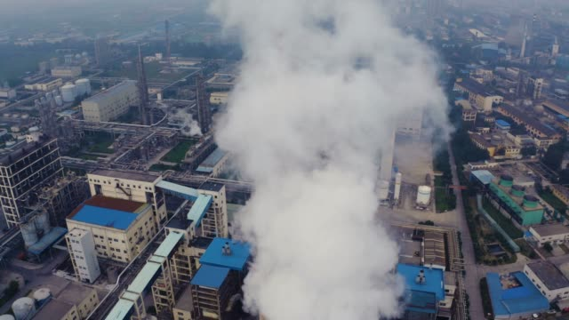 aerial view of chemical plant - water pollution stock videos & royalty-free footage