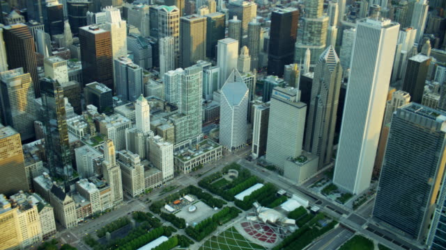 Aerial view of Chicago city skyscrapers and suburban