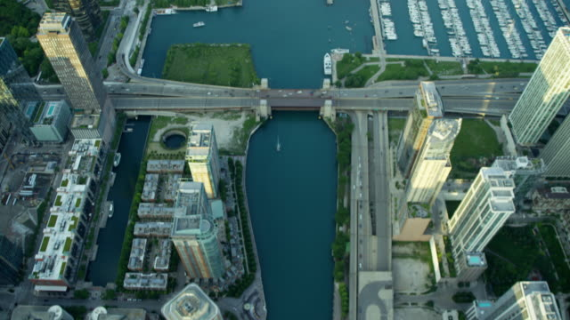 Aerial view of Chicago River and marina boats