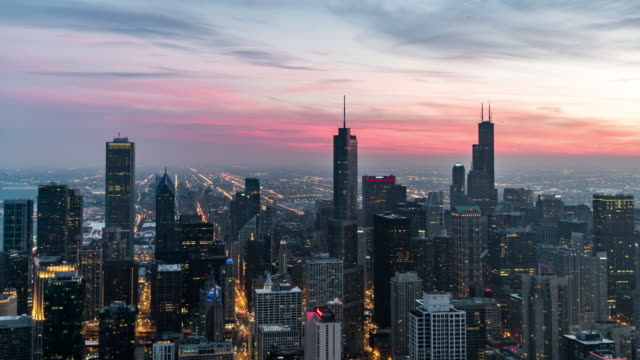 T/L Aerial View of Chicago Skyline, Dusk to Night Transition