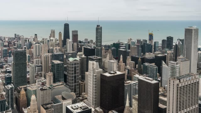 T/L PAN Aerial View of Chicago Skyline
