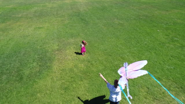 aerial view of children (ages 11 and 3) launching and running with kite. - kite toy stock videos and b-roll footage