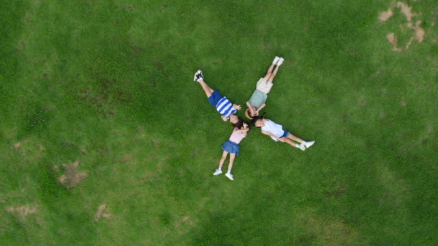 aerial view of children lying on lawn with closed eyes in summer at seoulforest (the third largest park in seoul city) - 仰向きに寝る点の映像素材/bロール