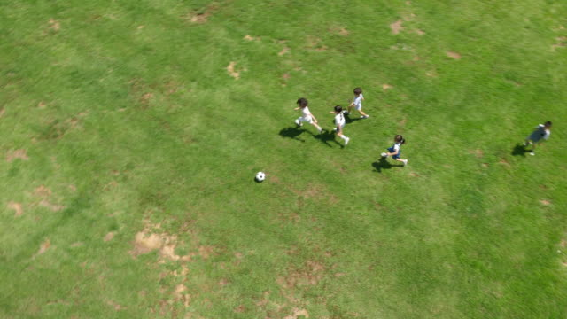 Aerial view of children playing soccer in summer at Seoulforest (the third largest park in Seoul city)