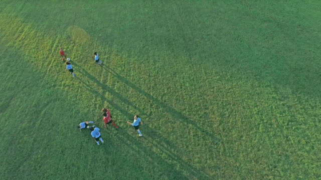 Aerial view of children playing soccer