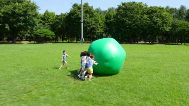 aerial view of children playing with a huge ball in summer at seoulforest (the third largest park in seoul city) - 芝生点の映像素材/bロール