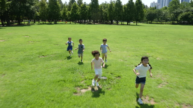 aerial view of children running in summer at seoulforest (the third largest park in seoul city) - 6歳から7歳点の映像素材/bロール