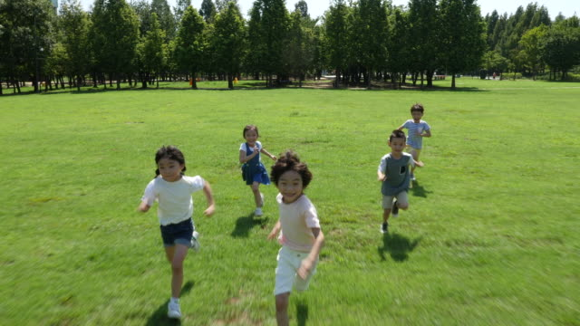 aerial view of children running toward a camera in summer at seoulforest (the third largest park in seoul city) - five people stock videos & royalty-free footage
