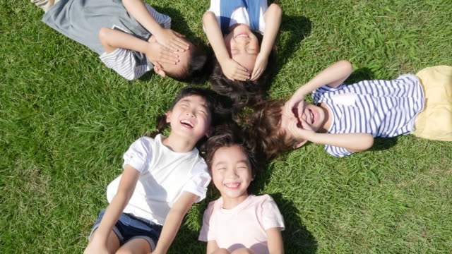 Aerial view of children smiling lying on lawn in summer at Seoulforest (the third largest park in Seoul city)