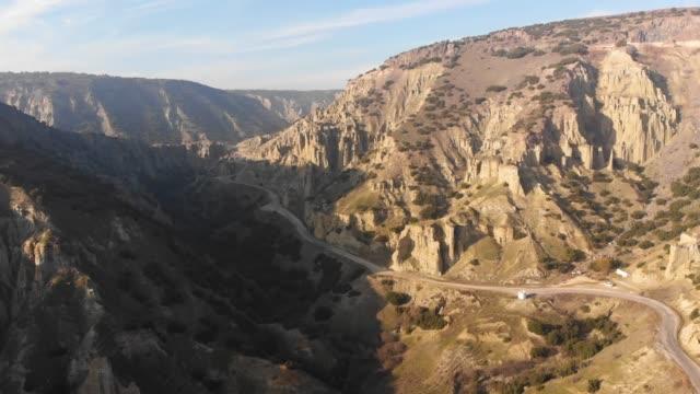 Aerial View of Chimney Rocks Valley of Kula, Manisa, Turkey