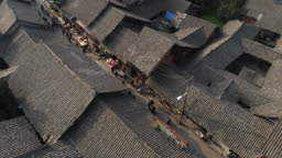 Aerial view of Chinese Ancient streets in Sichuan