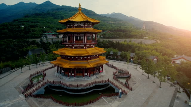 aerial view of chinese classical style pagoda,xi'an,china. - pagoda stock videos & royalty-free footage