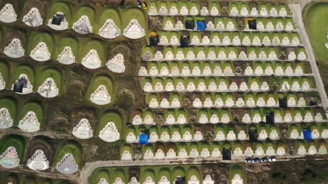 Luftaufnahme des chinesischen Friedhof in Baanbung, Chonburi, Thailand.