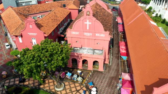 aerial view of christ church melaka,malacca,malaysia - malacca stock videos and b-roll footage