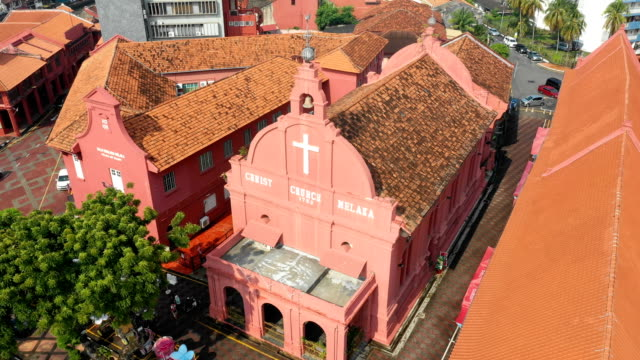 aerial view of christ church melaka,malacca,malaysia - dutch culture stock videos & royalty-free footage