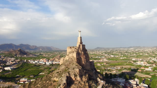 aerial view of christ statue on monteagudo - 1921 stock videos & royalty-free footage