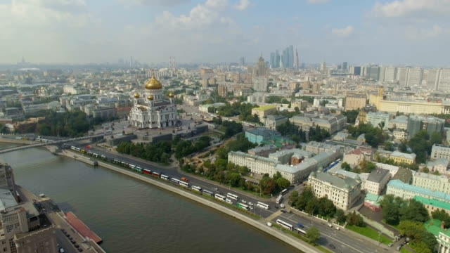 aerial view of christ the saviour cathedral  - river moscva stock videos & royalty-free footage