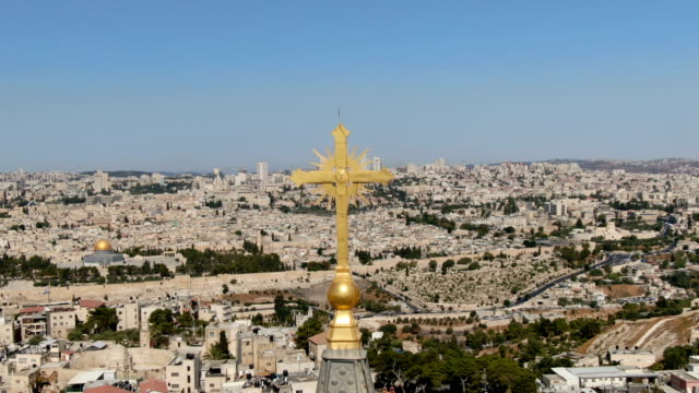 aerial view of christian cross on atur russian orthodox convent of the ascension  mount of olives/ jerusalem, israel - jerusalem stock videos & royalty-free footage