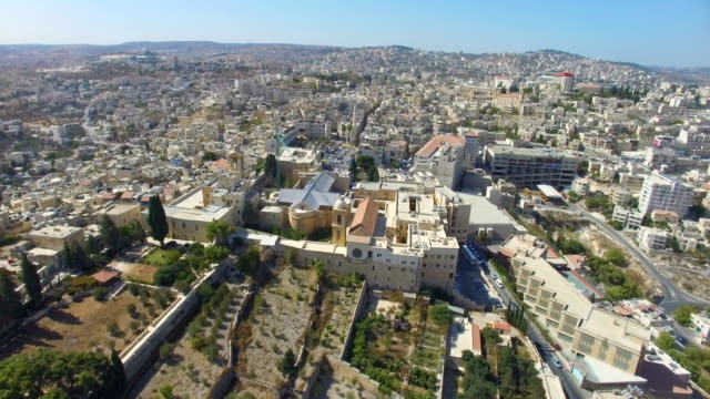 aerial view of church of the nativity, bethlehem, palestine - church of the nativity stock videos and b-roll footage