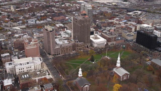 aerial view of church on the green, new haven, ct. shot in 2011. - artbeats bildbanksvideor och videomaterial från bakom kulisserna