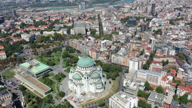 aerial view of church saint sava - dome stock videos & royalty-free footage