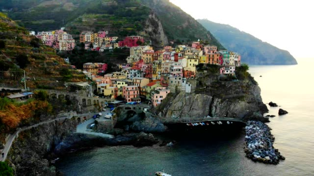 aerial view of cinque terre, liguria - italy - idyllic stock videos & royalty-free footage