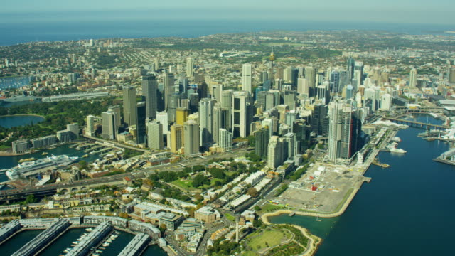 Aerial view of Circular Quay and Darling Harbour