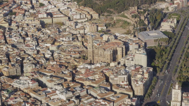 Aerial view of city and cathedral, Malaga, Andalusia, Spain