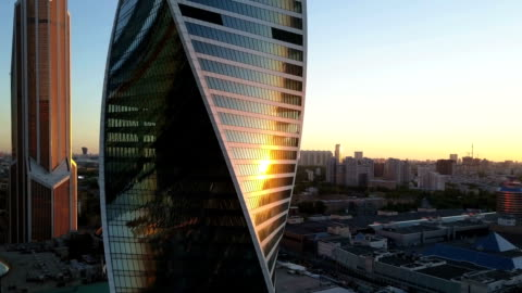 aerial view of city and office business buildings - moscow russia stock videos & royalty-free footage