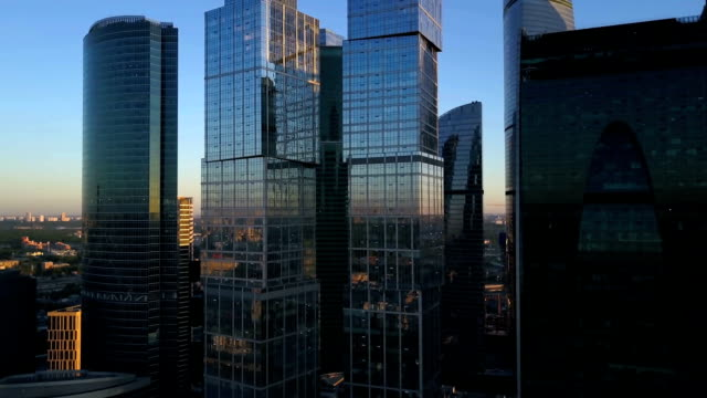 vídeos de stock e filmes b-roll de aerial view of city and office business buildings - moscow russia
