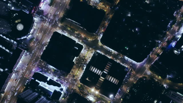 aerial view of city at night - liyao xie stock videos & royalty-free footage