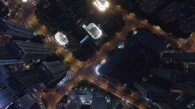 aerial view of city at night - 金融街点の映像素材/bロール