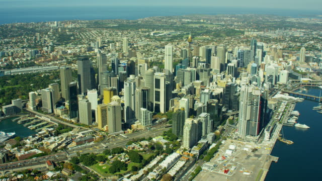 Aerial view of city buildings and Darling Harbour