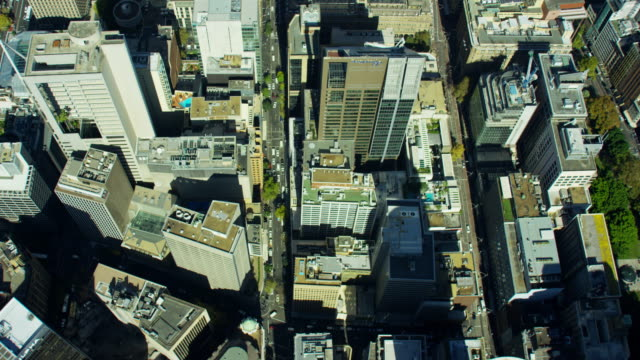 stockvideo's en b-roll-footage met aerial view of city buildings downtown skyscrapers sydney - financieel district