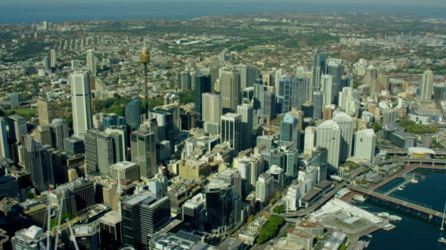 aerial view of city buildings downtown skyscrapers sydney - viewpoint stock videos & royalty-free footage