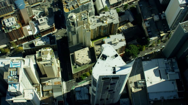 aerial view of city buildings downtown sydney australia - aerial transport building stock videos & royalty-free footage