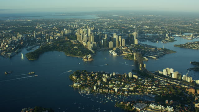aerial view of city buildings downtown sydney australia - ferry stock videos & royalty-free footage