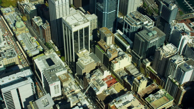 aerial view of city buildings downtown sydney australia - pacific war stock-videos und b-roll-filmmaterial
