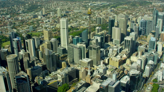 aerial view of city buildings downtown sydney australia - 砂岩点の映像素材/bロール
