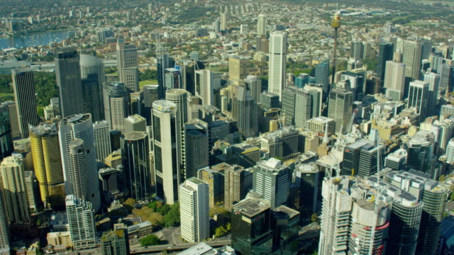 Aerial view of city buildings Downtown Sydney Australia