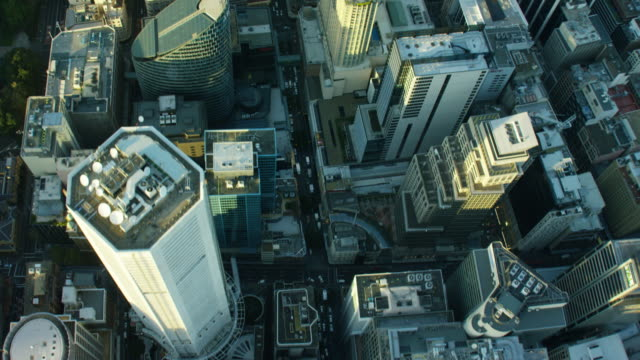 aerial view of city buildings downtown sydney australia - sydney stock videos & royalty-free footage