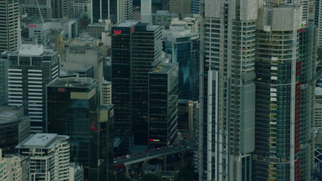 stockvideo's en b-roll-footage met aerial view of city buildings downtown sydney australia - financieel district