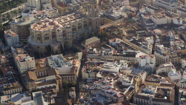 Aerial view of city center and cathedral, Malaga, Andalusia, Spain