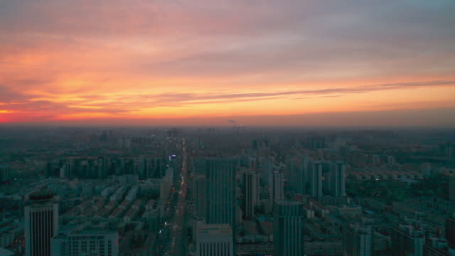 aerial view of city in the sunlight - liyao xie stock videos & royalty-free footage