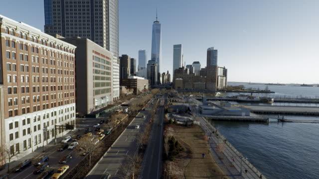 aerial view of city metropolis. urban cityscape background. establishing shot skyline business district