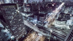 T/L HA Aerial View of City Network at Night