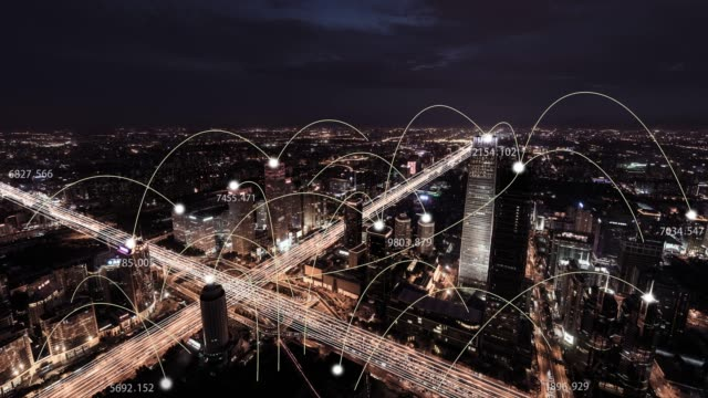 vídeos de stock e filmes b-roll de t/l ws zo aerial view of city network of beijing skyline, from day to night - a caminho