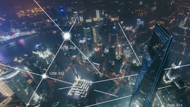 t/l zi aerial view of city network of shanghai at night - internet of things stock videos & royalty-free footage