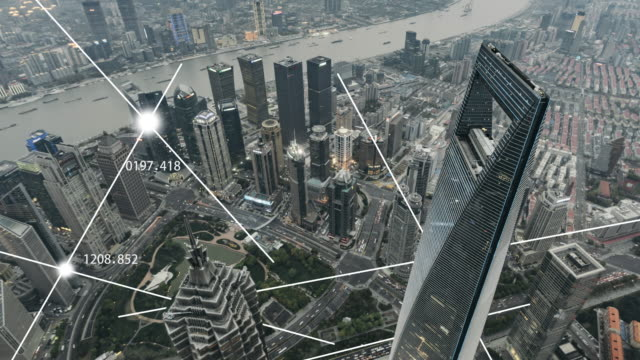 t/l pan aerial view of city network of shanghai - smart city stock videos & royalty-free footage