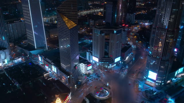 aerial view of city night - liyao xie stock videos & royalty-free footage